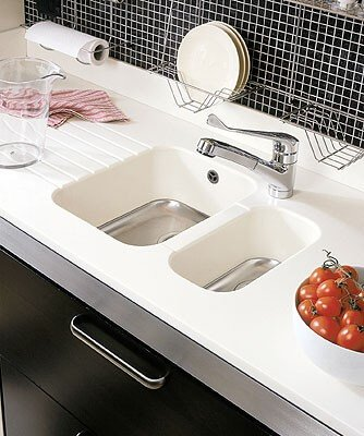 Corian kitchen worktop and sink.