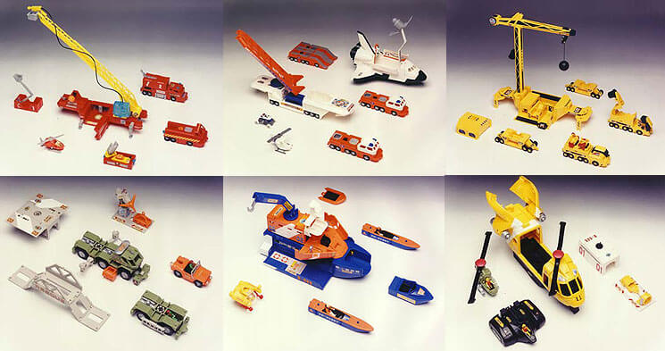 Left to right:-  Fire Rescue Set, Space Exploration Set, Construction Set (this became the best seller) Jungle Exploration, Sea Rescue Air Rescue. It is difficult to fully appreciate the time, skill and degree of engineering tolerance that was required.