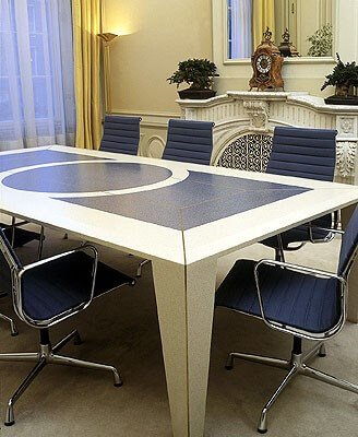 Corian can be fabricated into many stylish designs as demonstrated with this meeting table