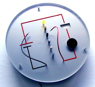 An interactive model that uses specimens in the model to show that some things conduct an electric current and others do not.