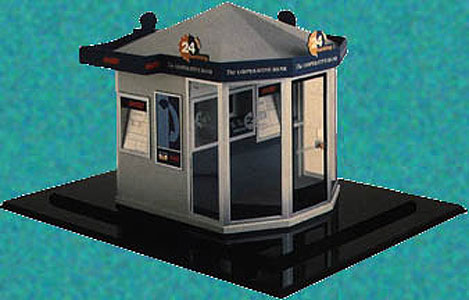 Client : Tin Drum  This is a scale model of the Co-Operative Banks 24hr hour banking ATM module.  The model had a removable roof to show internal detailing. Inset into the roof were leds to provide simulated illumination.  Approx size 300mm x 300mm.