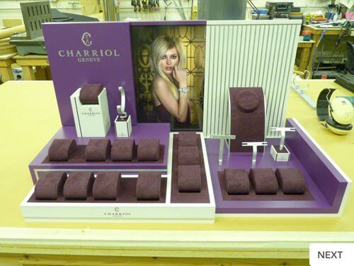 Point of sale display unit for Swiss watch maker Charriol's prestige brand of watches, fine jewellery and accessories produced in less than one week from receipt of order.