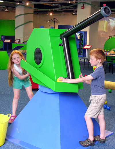 Children can aim the gun at any of the targets, load in the light plastic