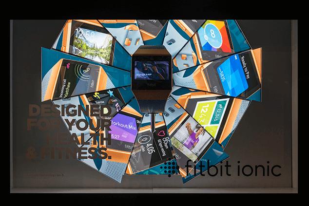 Fitbit window advertising at Harrods in London